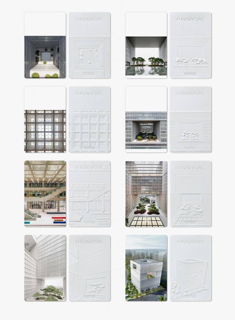 아모레퍼시픽 신사옥 도면을 벡터화시켜 본사를 방문한 방문객들이 가져갈 수 있도록 한 만든 친환경 세계 본사 방문증ⓒ courtesy of David Chipperfield Architects; ⓒcourtesy of Hyundai Engineering&Construction;ⓒ Amorepacific